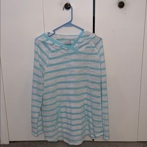 Teal and white stripes plus size women hoodie